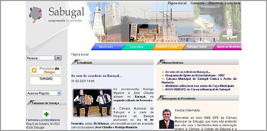 Página Web da Câmara Municipal do Sabugal - 2008 - Capeia Arraiana