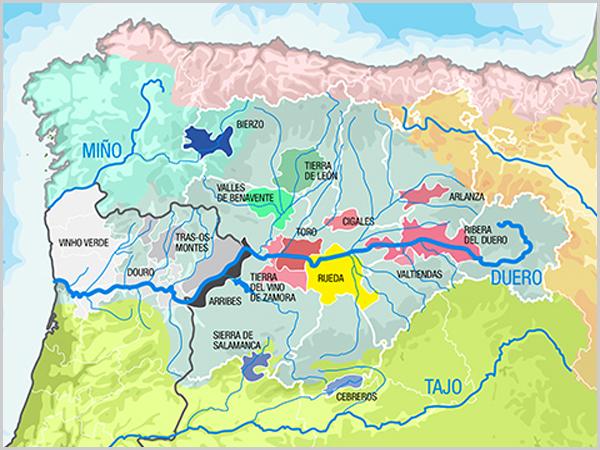 Mapa das regiões do Douro - Duero