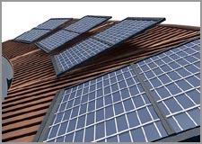 Painéis solares nos telhados