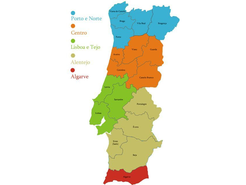 Mapa de Portugal continental com os 18 distritos - capeiaarraiana.pt