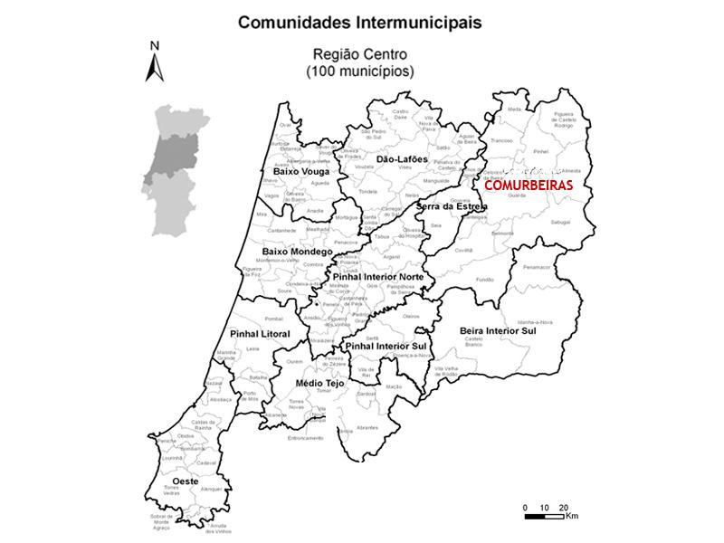 Mapa das Comunidades Intermunicipais da Região Centro (com Comurbeiras)