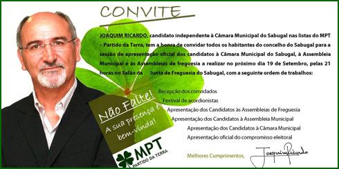Joaquim Ricardo - MPT-Partido da Terra - Sabugal
