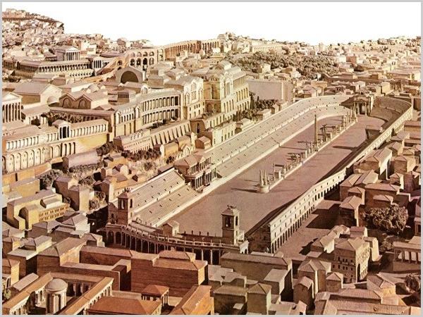 Circus Maximus da Roma Antiga mandado construir a mando de Tarquínio Prisco no século 6 a.C.