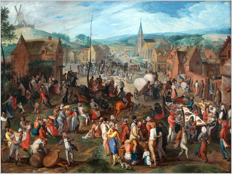 Mercado pintado pelo artista flamengo Gillis Mostaert