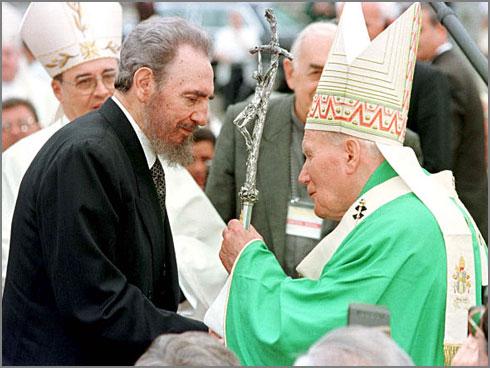 Papa João Paulo II com Fidel Castro