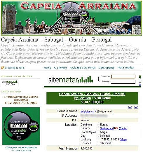 Primeiro milhão de visitantes do Capeia Arraiana - Capeia Arraiana