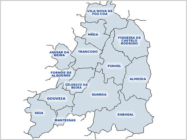 Mapa dos concelhos do distrito da Guarda