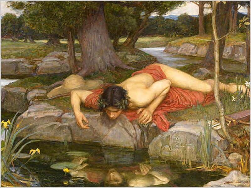 Narciso em auto-admiração no espelho de água