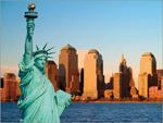 Estátua da Liberdade. Ao fundo, Manhattan (já sem as Torres Gémeas)