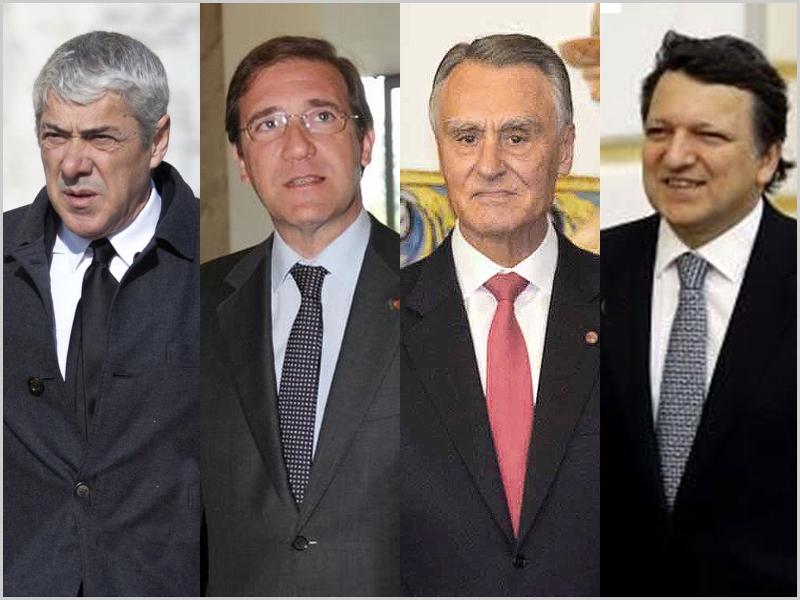 José Sócrates, Pedro Passos Coelho, Cavaco Silva e Durão Barroso