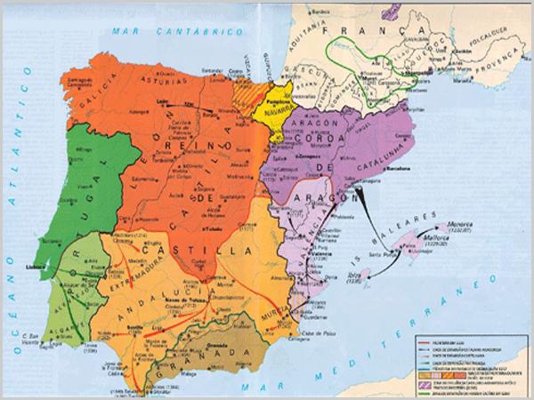 Mapa da reconquista no séc. XII
