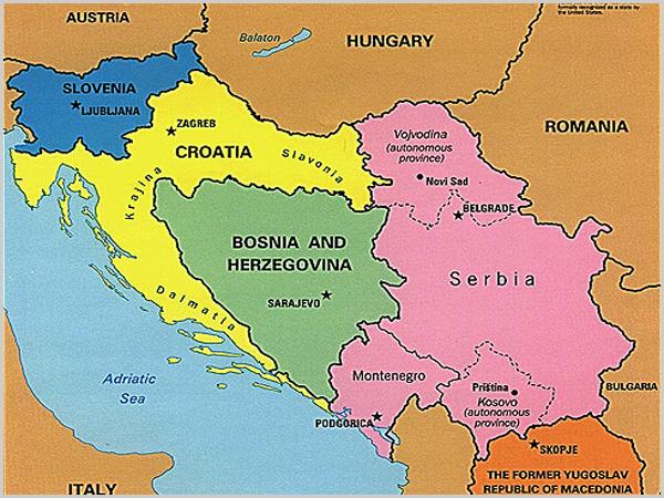 Mapa da Croácia e Bósnia-Herzgovina