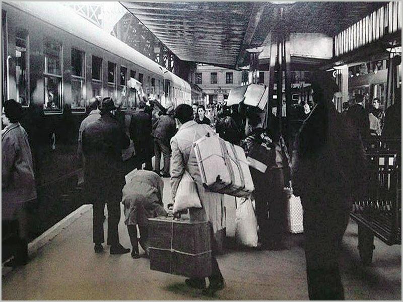 Emigrantes portugueses à chegada a Paris
