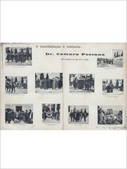 Foto-reportagem da revista Brasil-Portugal sobre a Manifestação à memória do Dr. Câmara Pestana no cemitério do Alto de São João, em Lisboa, em Novembro de 1899