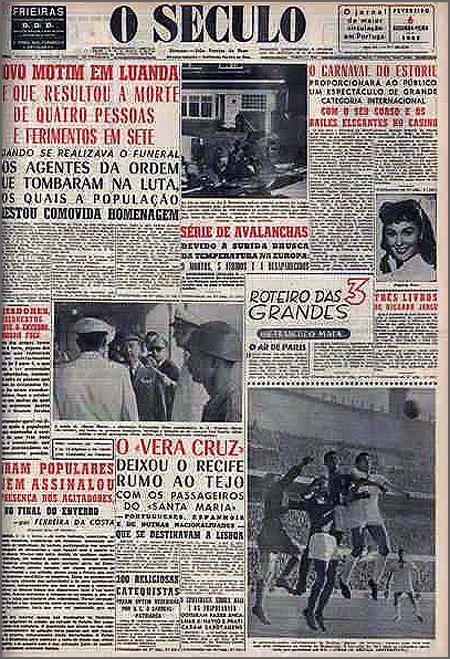 Jornal «O Século», edição de 6 de Fevereiro de 1961