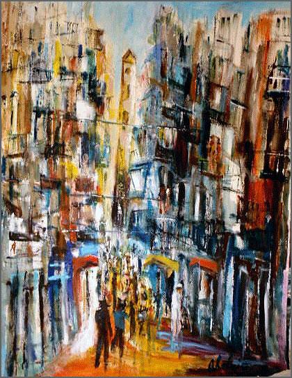 Bairro típico de Lisboa - pintura de Alcínio