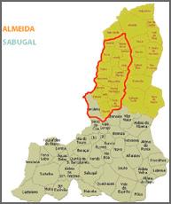 Mapa assinalando o concelho de Castelo Mendo