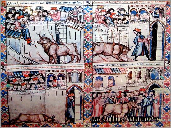 Iluminura da cantiga 144 das «Cantigas de Santa Maria», de Afonso X, o Sábio, sobre o «Touro nupcial de Plasencia» - Capeia Arraiana