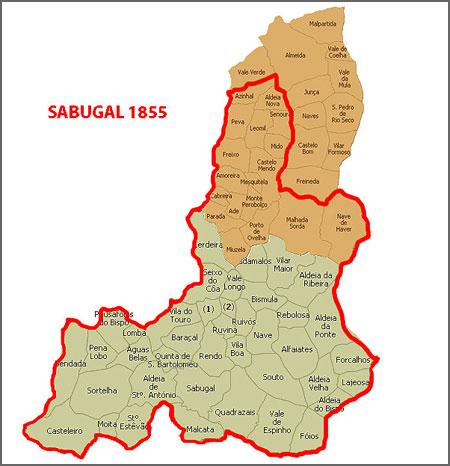 Sabugal em 1855 depois da extinção de Castelo Mendo