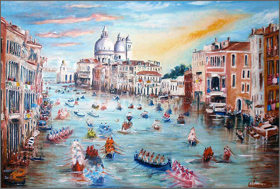 Veneza - regata histórica  - pintura de Alcínio