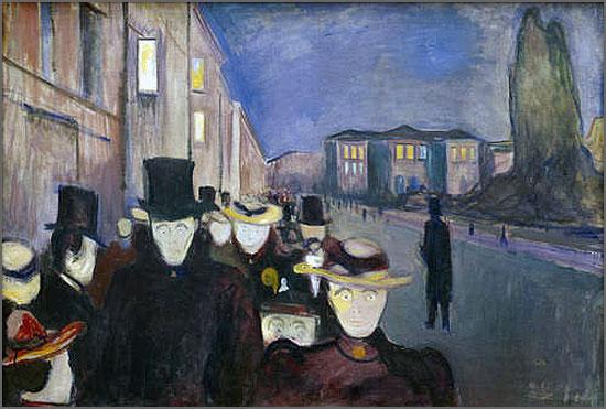 Edvard Munch - Anoitecer na Rua Karl Johan (1892)