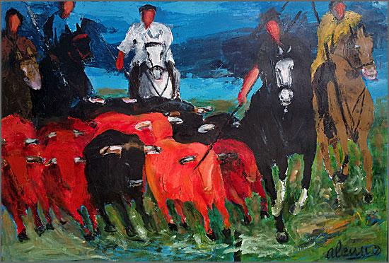 O apartar dos touros - pintura de Alcínio