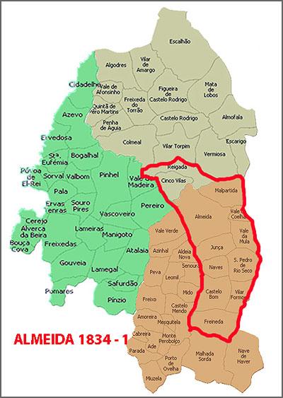 Almeida depois da anexação de Cinco Vilas, Malpartida e Reigada