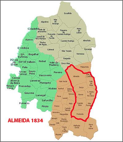 Almeida 1834 (depois da extinção de Castelo Bom)