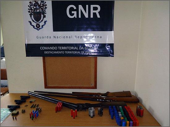 Armas e munições apreendidas pelo NIC de Pinhel