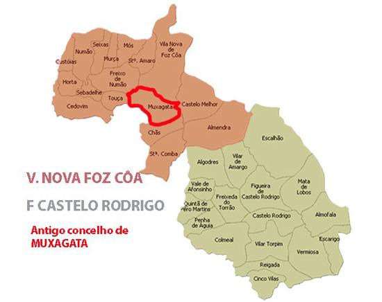 Mapa do antigo concelho da Muxagata - Capeia Arraiana