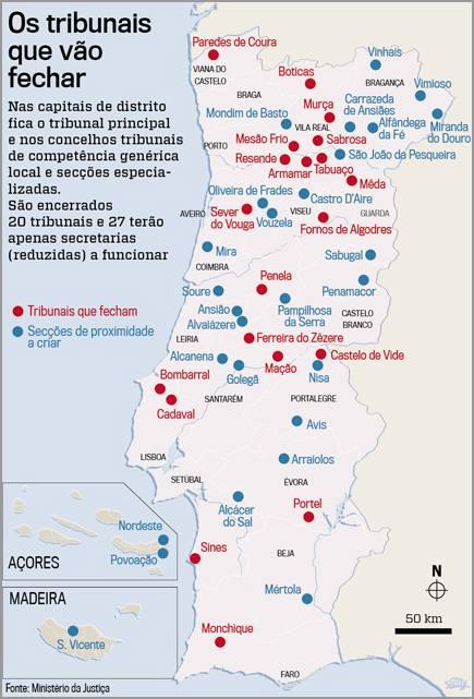 Mapa Reestruturação Tribunais - Semanário Sol - Capeia Arraiana
