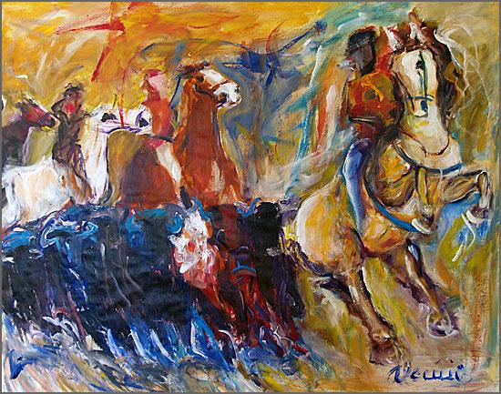 O encerro - pintura de Alcínio Vicente