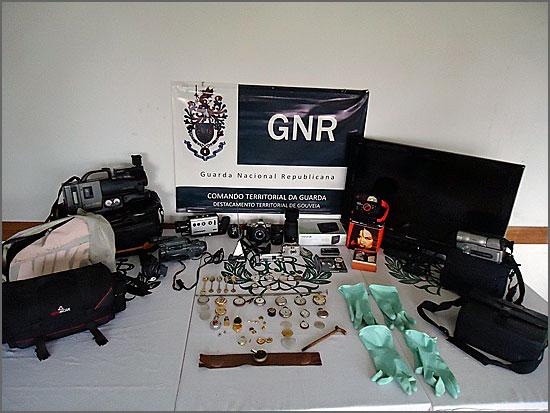 Os objectos furtados que foram recuperados pela GNR