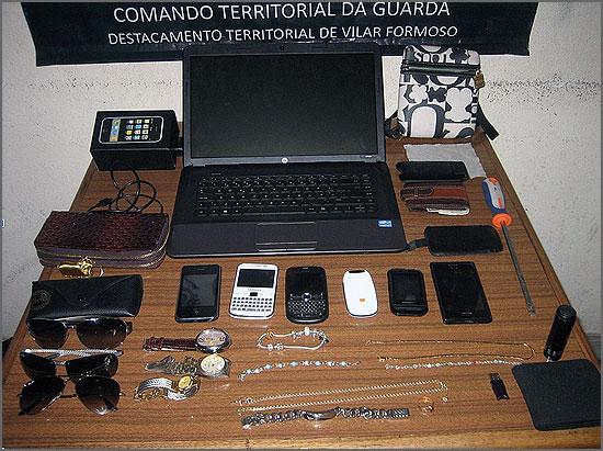Os objectos furtados