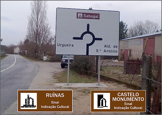 Placa indicando as «ruínas» do Sabugal