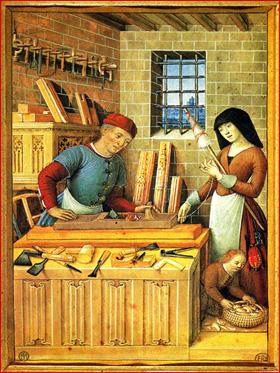 Tendo provavelmente origem nas confrarias religiosas, surgem, a partir dos finais do século XI, associações de carácter profissional, as corporações de artes e ofícios, como a dos carpinteiros e marceneiros. Iluminura francesa do século XV