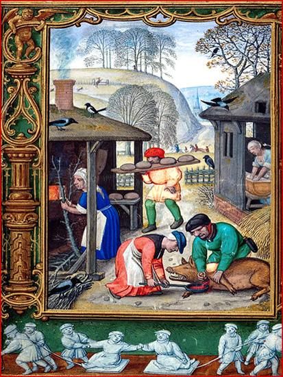 Ontem como hoje, a matança do porco era uma das grandes festas familiares. Iluminura flamenga do início do século XVI