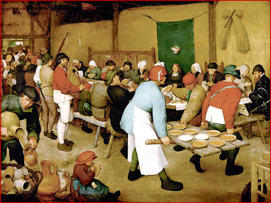Nas festas populares, religiosas ou profanas, a mesa ocupava sempre um lugar de relevo. As confrarias religiosas faziam frequentes refeições confraternais que dariam origem às confrarias gastronómicas, cujo objectivo era o de preservar a gastronomia tradicional. Pintura de P. Brueghel (séc. XVI)