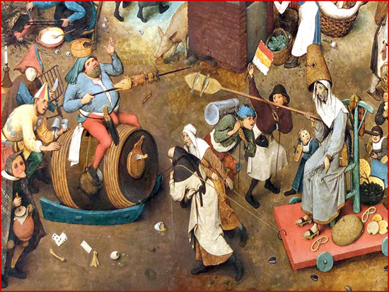 O bucho era o prato substancial na despedida da carne, antes da Quaresma. Comia-se, tradicionalmente, no Domingo Gordo. Na imagem, pormenor de mais um quadro de Brueghel, mostrando a luta entre o Carnaval e a Quaresma