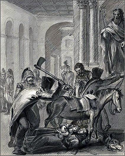 Soldados napoleónicos saqueando e destruindo