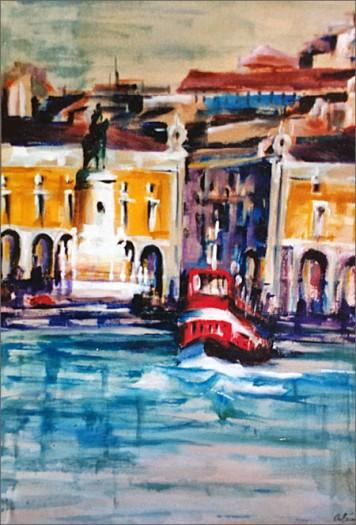 Lisboa - Cacilheiro no Tejo (pintura de Alcínio)