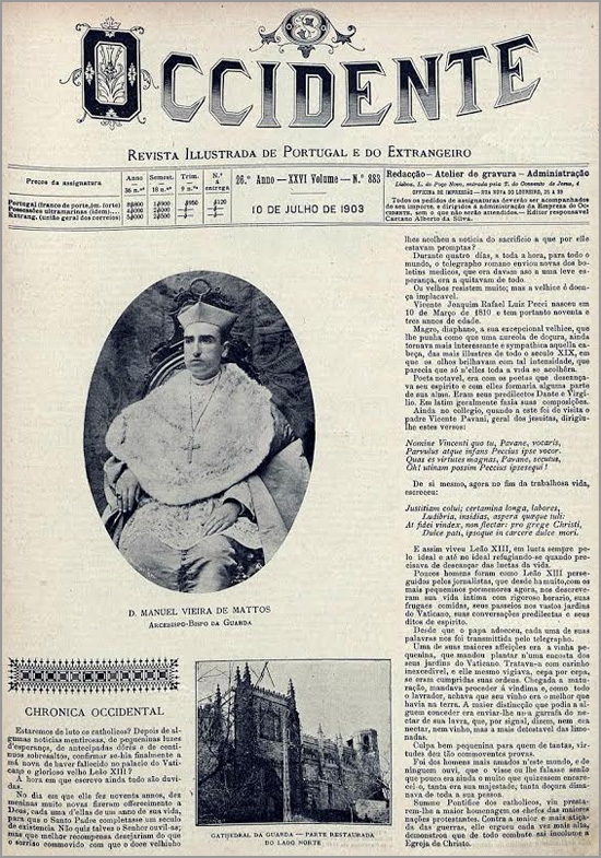 D. Manuel Vieira de Matos muito jovem: tinha apenas 42 anos quando tomou posse como bispo da Guarda. Jornal «Ocidente» de 10 de Julho de 1903 - Adérito Tavares - Capeia Arraiana