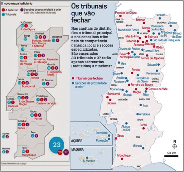 Reforma Mapa Judiciário - Grafismo Semanário Sol - Capeia Arraiana