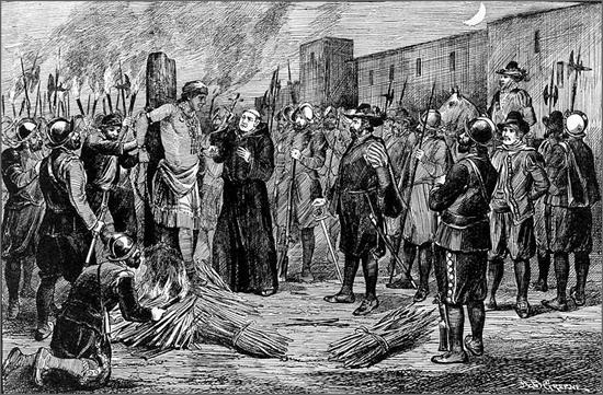 Intolerância religiosa - a execução do Inca Atahualpa por não se converter ao cristianismo introduzido pelos invasores