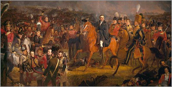 Os vencedores encontram-se. Vemos o general prussiano Von Blücher ao centro e Wellington à esquerda, a cavalo, com o chapéu na mão - Batalha de Waterloo - Capeia Arraiana