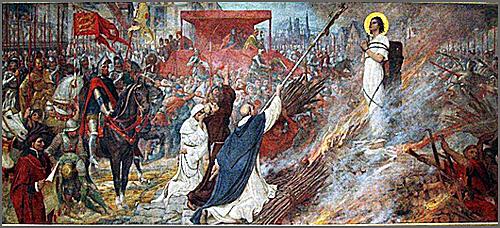 Joana d'Arc morre na fogueira