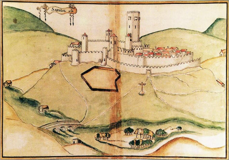 """A vila do Sabugal no século XVI, segundo um desenho aguarelado de Brás Pereira, feito em 1642 com base no """"Livro das Fortalezas"""" (de c. 1509), de Duarte d'Armas - Adérito Tavares - Capeia Arraiana"""