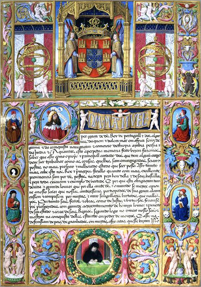 Uma das belíssimas páginas iluminadas de um dos 61 livros da «Leitura Nova» manuelina - Adérito Tavares - Capeia Arraiana