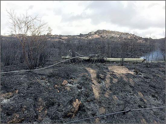 O incêndio destruiu as comunicações