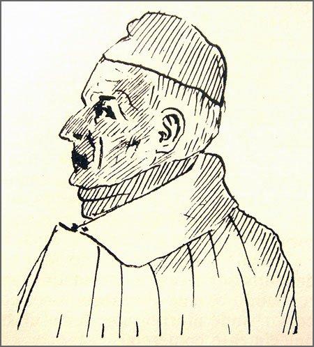 O Padre João de Matos foi preso há 142 anos (desenho da autoria de Joaquim Manuel Correia)